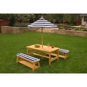 Table d'extérieur pour enfant avec ses deux bancs et son parasol