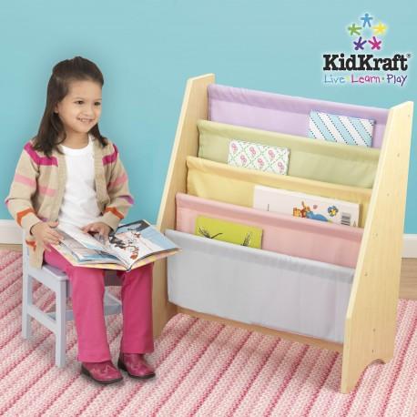 Bibliothèque à en bois compartiments pastel