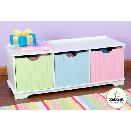 banc de rangement pastel mobilier chambre enfant. Black Bedroom Furniture Sets. Home Design Ideas