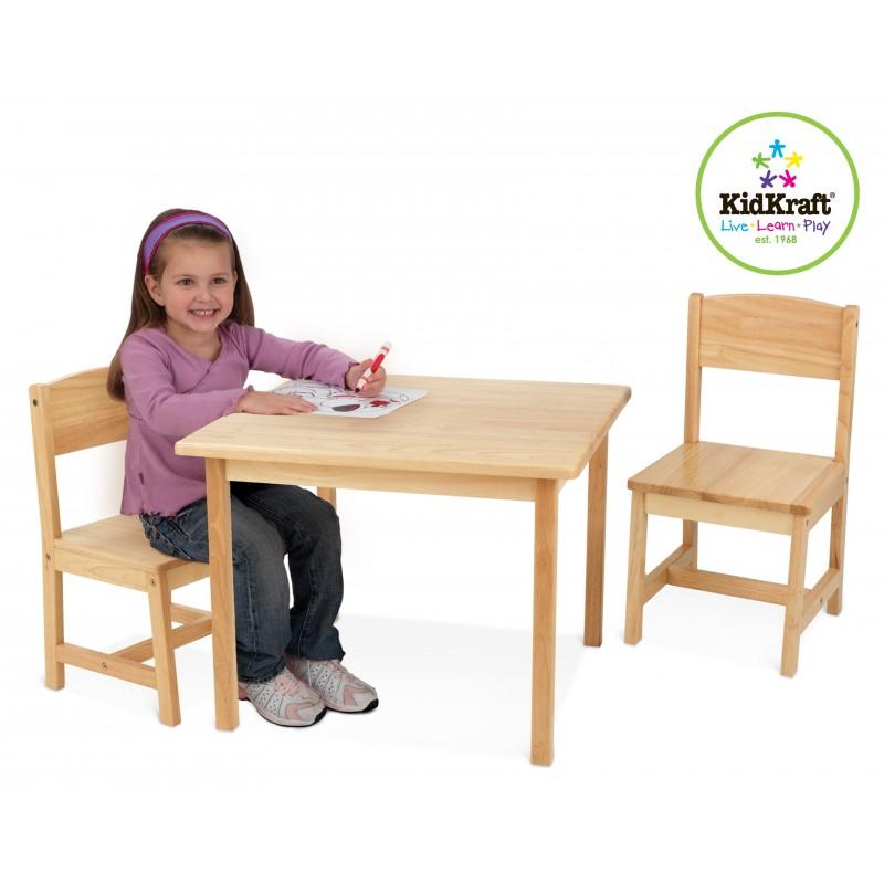 Table et deux chaises pour enfant bois mobilier pour enfant for Table avec chaise enfant