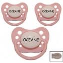 3 sucettes personnalisées Nip rose silicone 3.18 mois