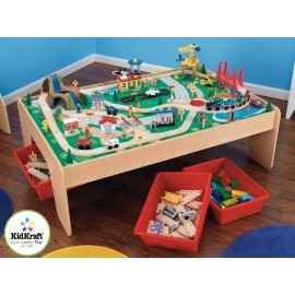 ensemble train et table de rangement