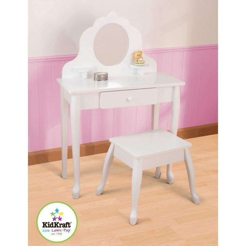 Coiffeuse et tabouret blanc pour enfant - mobilier enfant