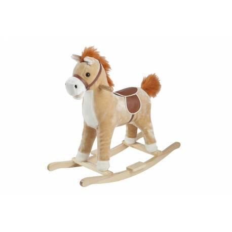 Cheval à bascule brun et blanc en bois babygo