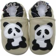 Chaussons en cuir Panda crème