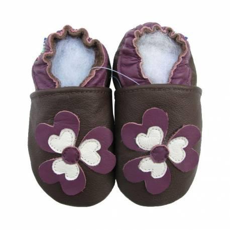 Chaussons en cuir Fleur Marron et purple
