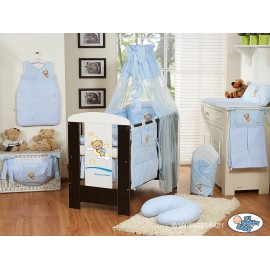 Lit et Parure de lit bébé bonne nuit bleu