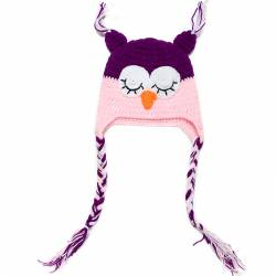 bonnet hibou rose et prune