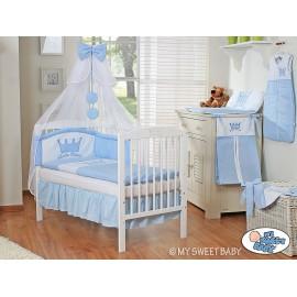 Lit et Parure de lit bébé prince ou princesse bleu