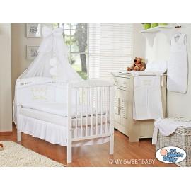 Lit et Parure de lit bébé prince ou princesse blanc