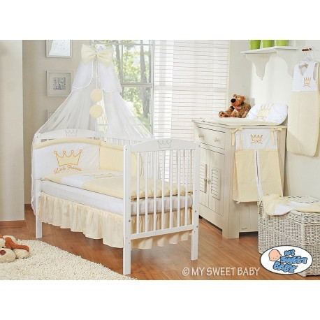 Lit et Parure de lit bébé prince ou princesse crème