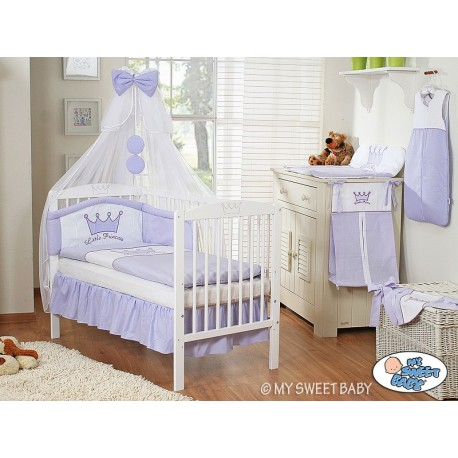 Lit et Parure de lit bébé prince ou princesse violet
