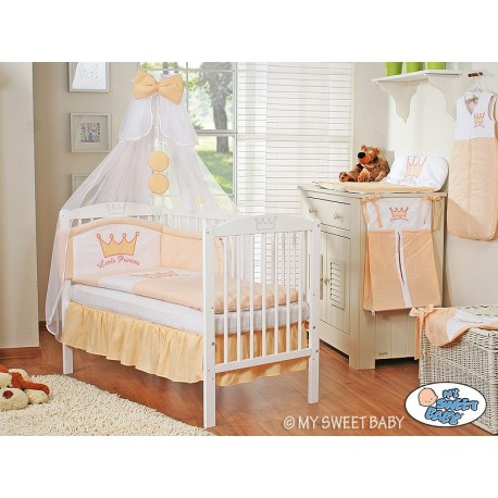 Lit et Parure de lit bébé prince ou princesse pêche