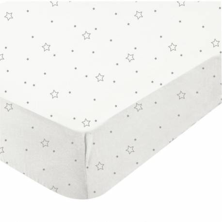 Drap housse en mousseline étoiles grises pour lit bébé