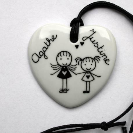 Bijou pendentif personnalisé coeur classique 2 personnages