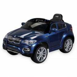 voiture électrique pour enfant BMW X6 de luxe métallisée bleu, siège cuir