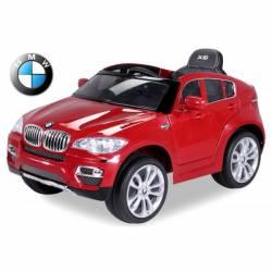 voiture électrique pour enfant BMW X6 de luxe métallisée rouge, siège cuir