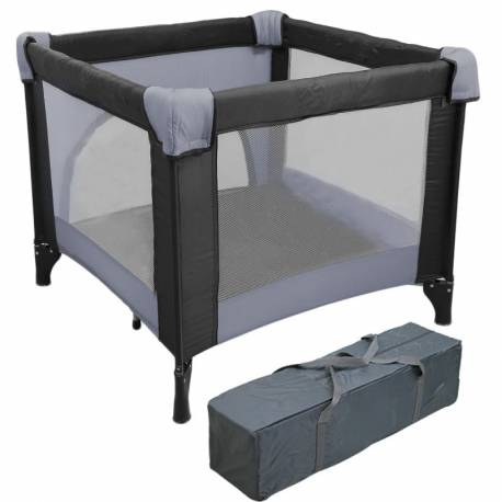 Parc pliant pour bébé noir et gris