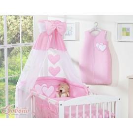 Parure de lit bébé deux coeurs rose