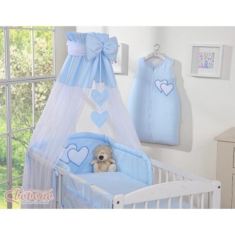 Parure de lit bébé deux coeurs bleu