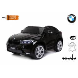 voiture électrique pour enfant BMW X6 M noire, siège cuir