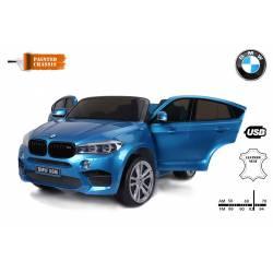 voiture électrique pour enfant BMW X6 M métallisée bleue, siège cuir