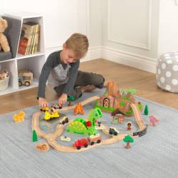Circuit de trains en bois Bucket Dinosaure