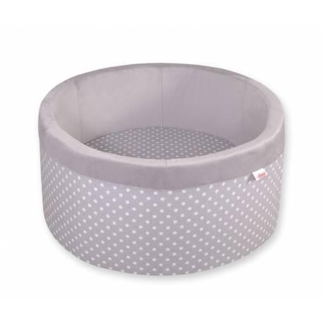 Piscine à balles ronde white dots on grey