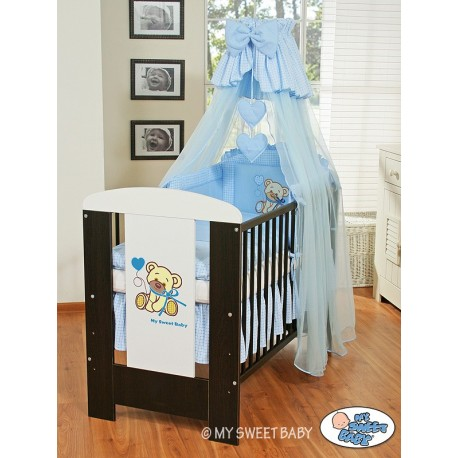 Lit et Parure de lit bébé teddy bear bleu