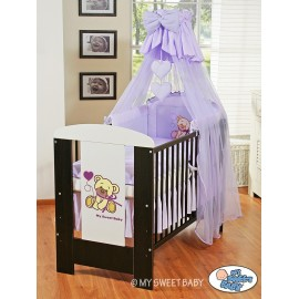 Lit et Parure de lit bébé teddy bear violet