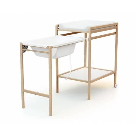 Table à langer en bois avec sa baignoire - 3 coloris