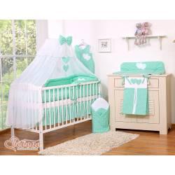 Parure de lit bébé deux coeurs menthe
