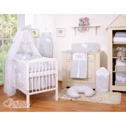 Parure de lit bébé deux coeurs blanc à pois noir