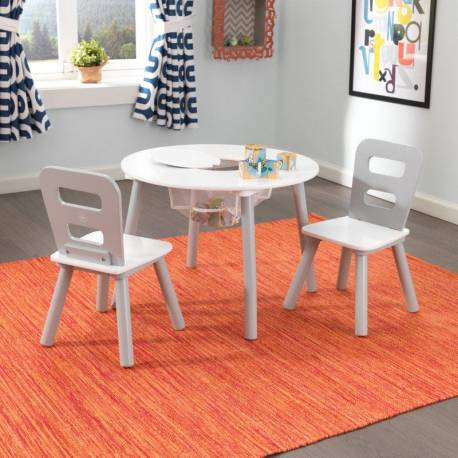 Ensemble table pour enfant ronde et ses 2 chaises gris et blanc