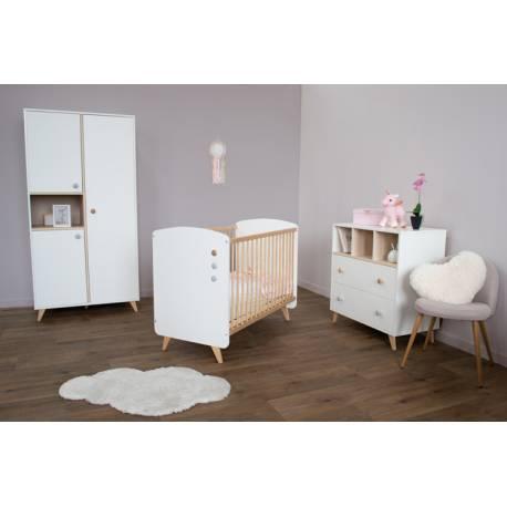 Ensemble lit bébé + commode + plan à langer + armoire Senja Blanc
