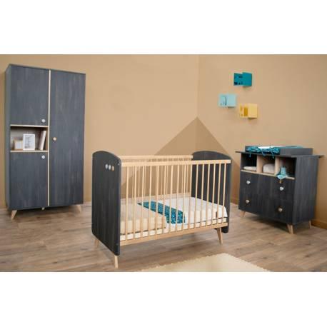 Ensemble lit bébé + commode + plan à langer + armoire Senja anthracite