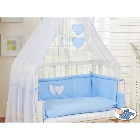 Lit bébé cododo avec parure coeur bleu