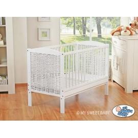 lit bébé évolutif blanc en osier