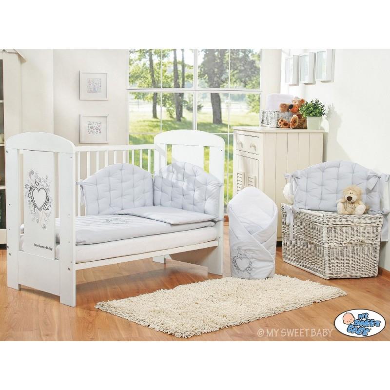 lit pour b b collection chic avec sa parure grise lit enfant avec parure. Black Bedroom Furniture Sets. Home Design Ideas