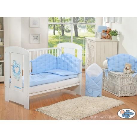 Lit bébé chic bleu + parure 4 pièces