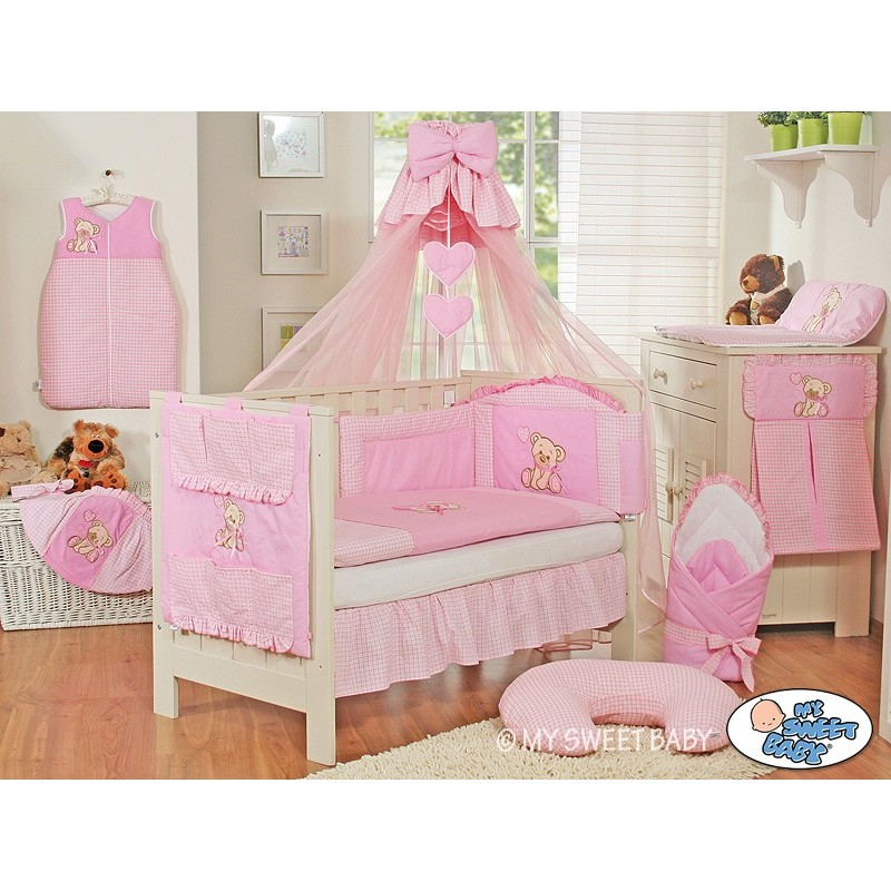 parure de lit b b compl te ours teddy rose chambre b b. Black Bedroom Furniture Sets. Home Design Ideas