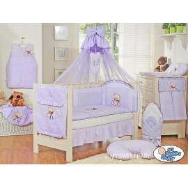 Parure de lit bébé complète ours teddy violet