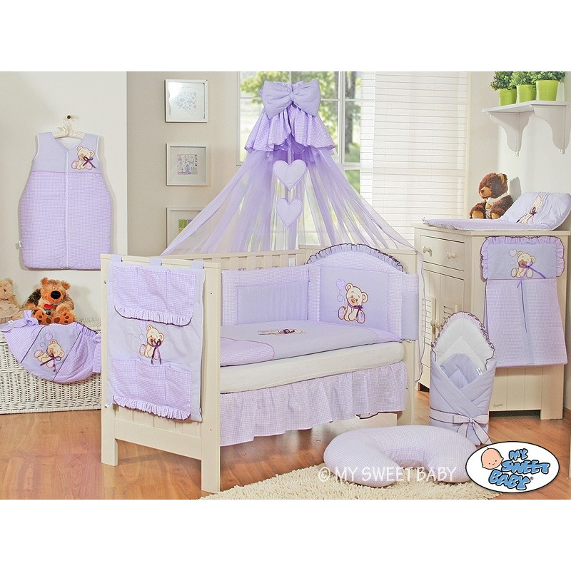 Parure de lit b b compl te ours teddy violet chambre b b - Parure de lit bebe complete ...