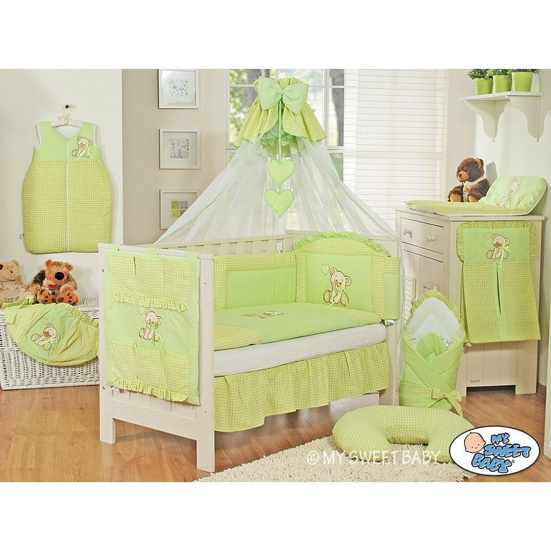 parure de lit b b compl te ours teddy vert chambre b b. Black Bedroom Furniture Sets. Home Design Ideas