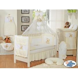 Parure de lit bébé complète ours teddy blanc cassé