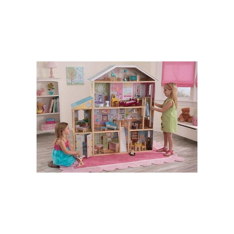 maison de poup e majestueuse en bois. Black Bedroom Furniture Sets. Home Design Ideas