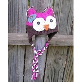 bonnet hibou prune et rose