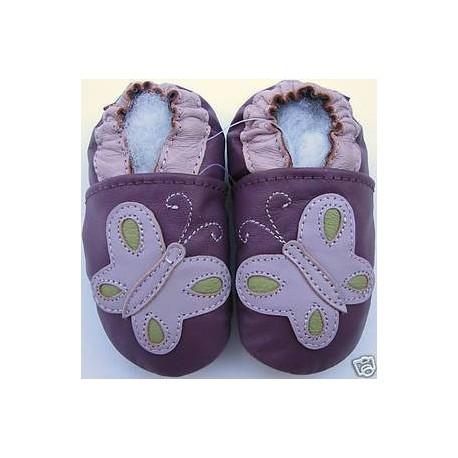Chaussons en cuir Papillon violet