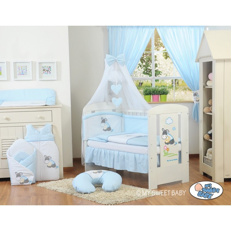 Parure de lit b b ne bleu accessoire pour b b pas cher - Accessoire de lit pour bebe ...