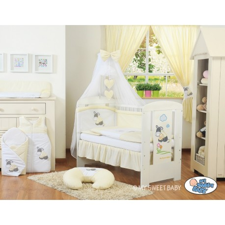 Parure de lit bébé âne crème jaune